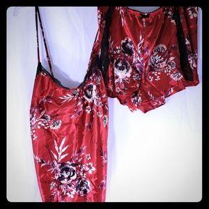 Hot 2 PC Red Slinky Satin Sleepwear Shorts Cami